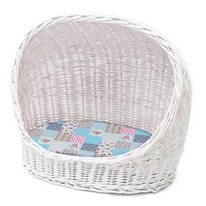 Premium Cat Basket With Blue Cushion