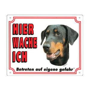 GRATIS Hunde Warnschild, Dobermann