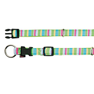 Impression Halsband Stripes Neongrün (35-55 cm)